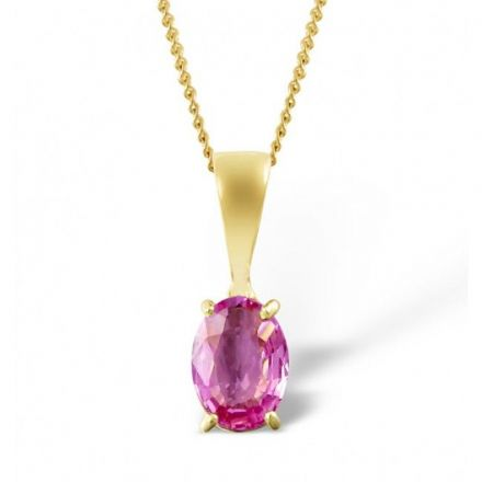18K Gold 7mm x 5mm Pink Sapphire Pendant, DCP02-PS